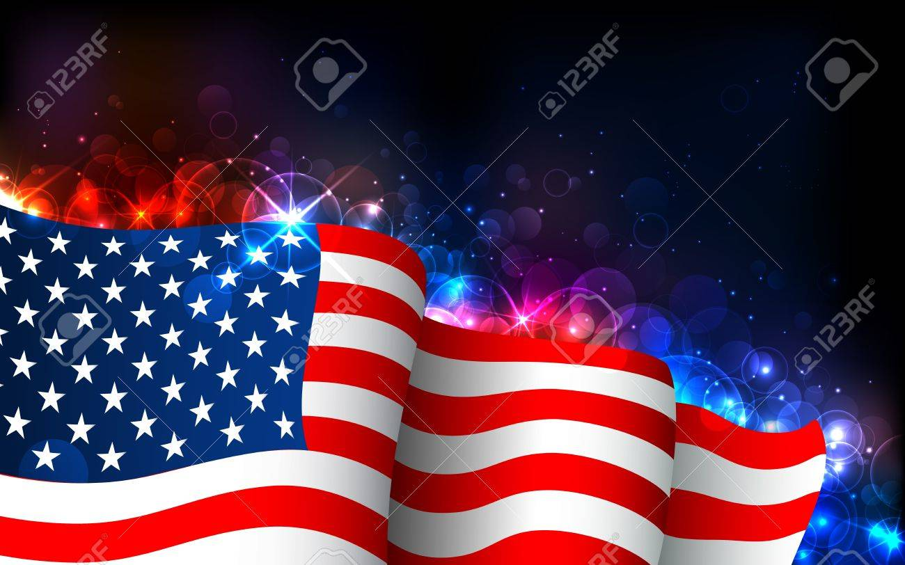 illustration of american flag on abstract glowing background royalty