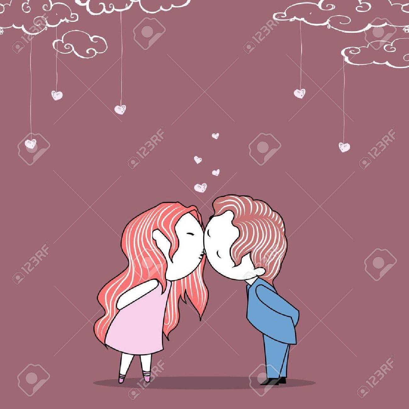 結婚式招待状テンプレート上のカップルのキスのイラスト ロイヤリティ