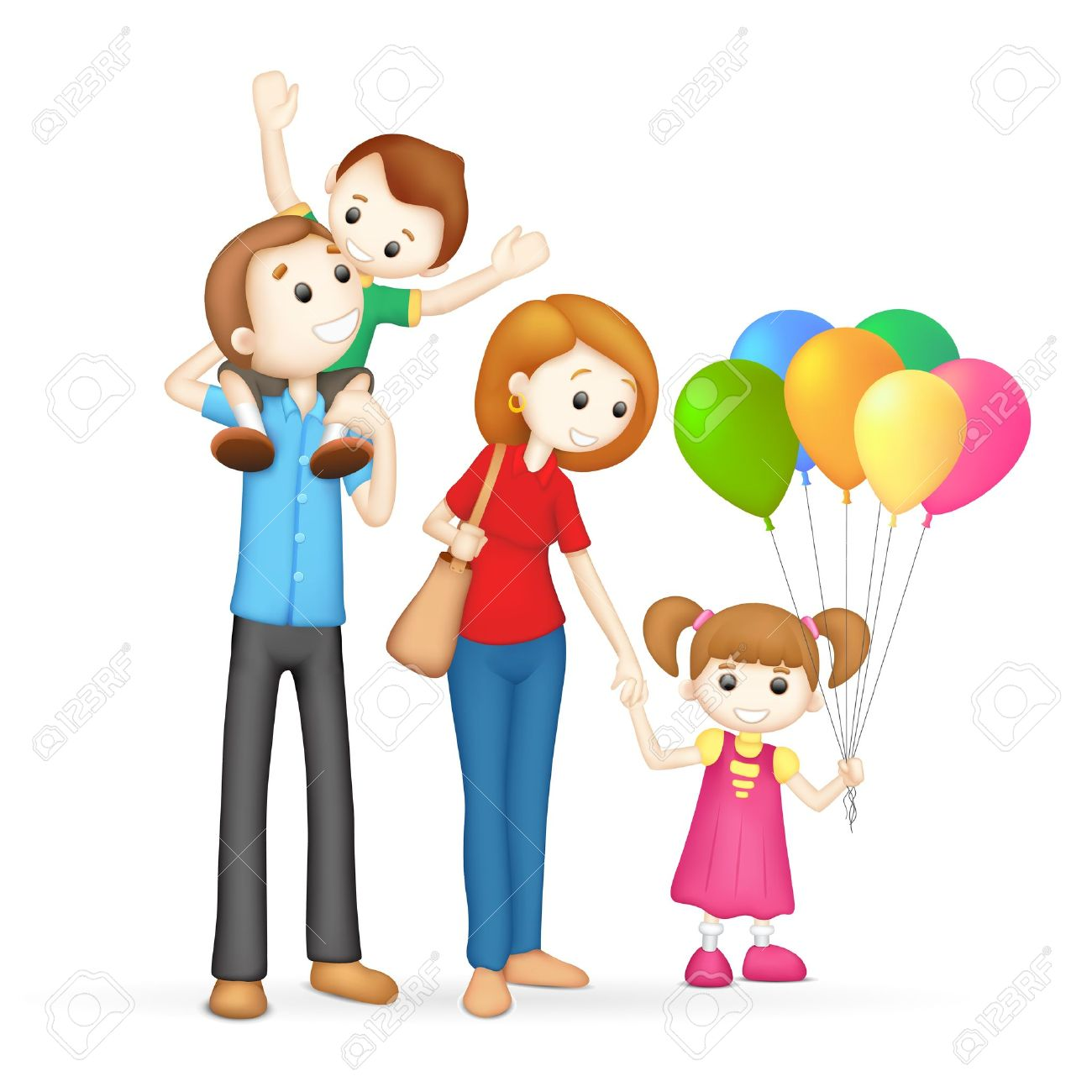 illustration of 3d happy family in vector fully scalable Stock Vector - 14355323