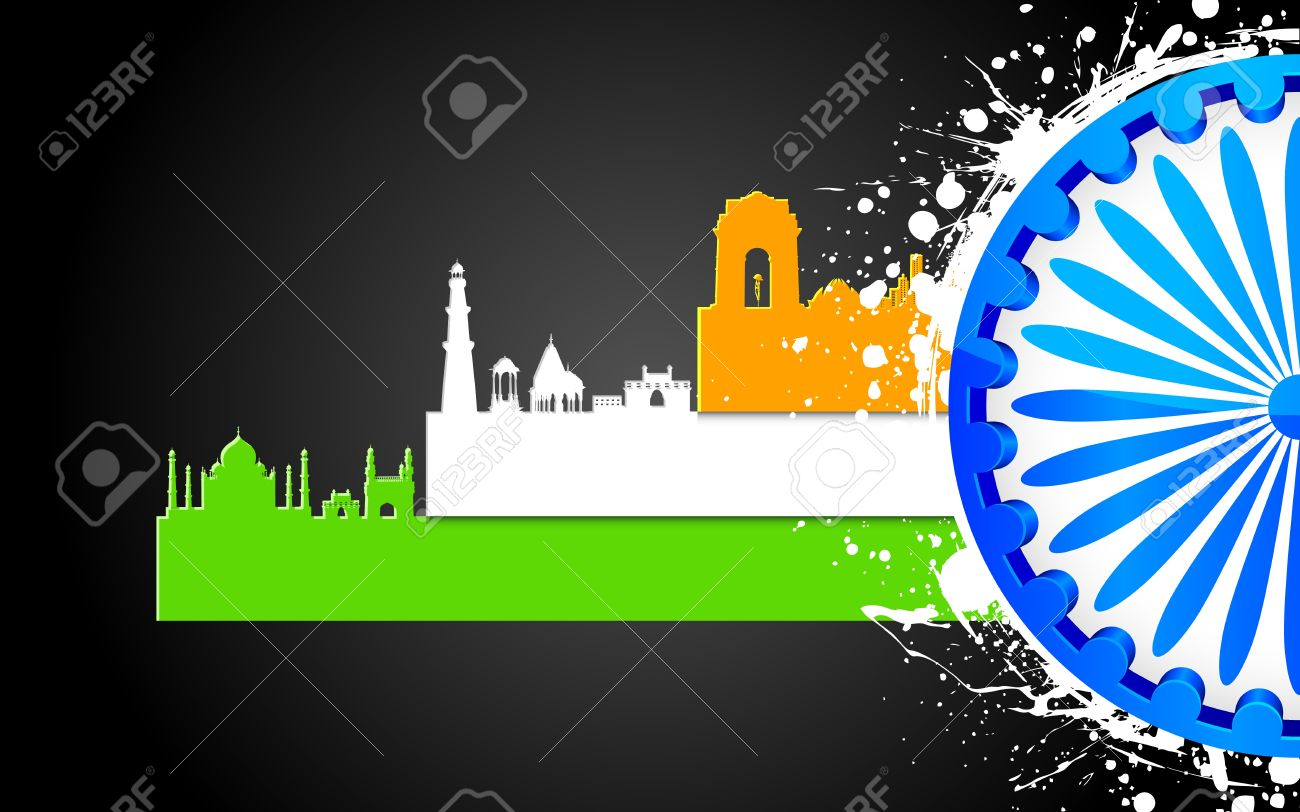 illustration of famous monument of India in tricolor with Ashok Wheel Stock Vector - 14412225