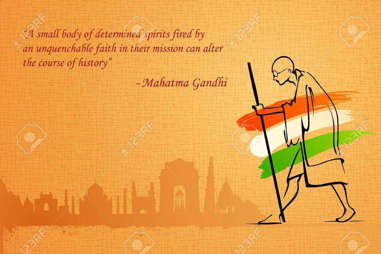 インドの背景に Mahatama ガンジーのイラストのイラスト素材ベクタ