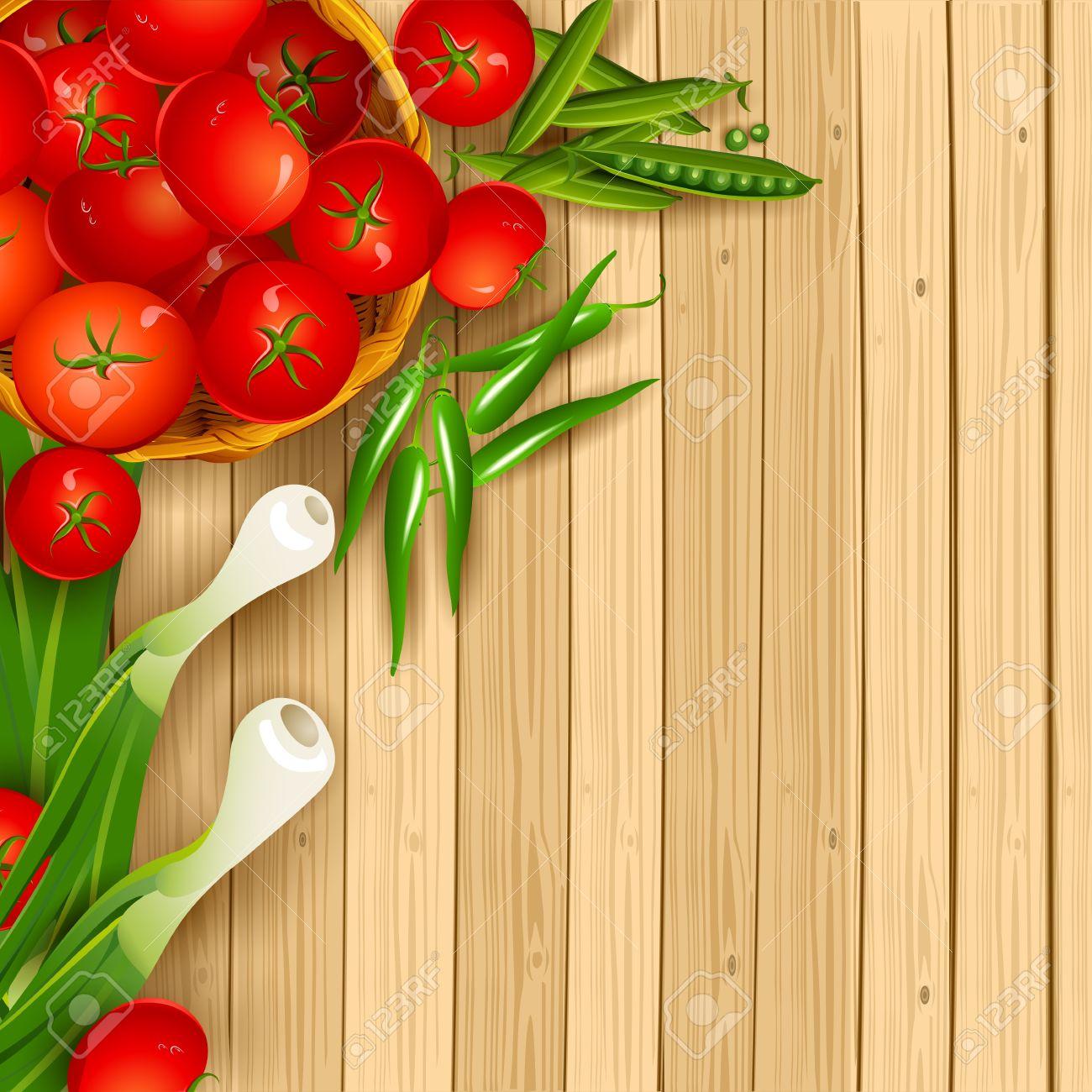 Illustration Of Fresh Vegetables On Wooden Chopping Board Stock Vector    14588884