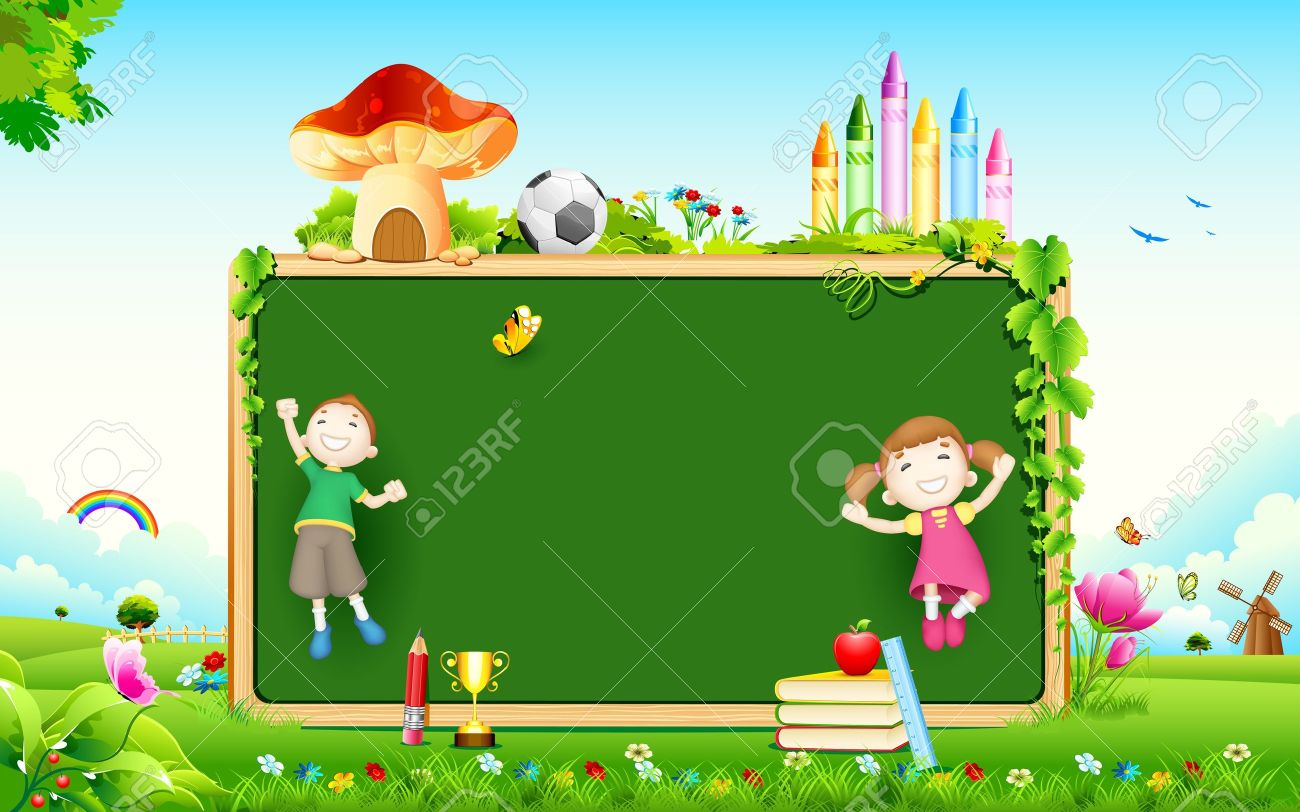 illustration of school kid playing in front of blank board - 14732213