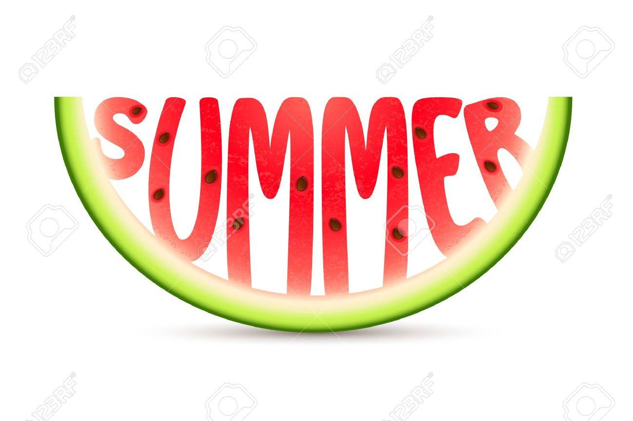 illustration of summer word carved in watermelon stock photo
