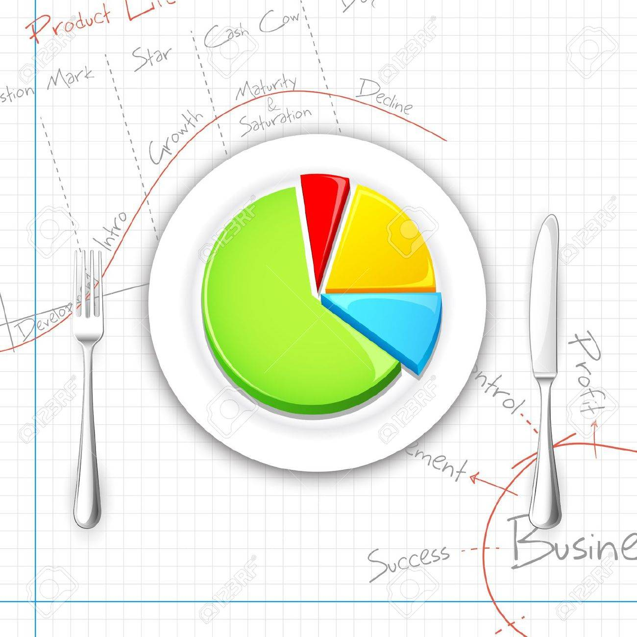 Illustration of pie chart presented on dish with fork and knife illustration of pie chart presented on dish with fork and knife stock vector 14732254 nvjuhfo Images