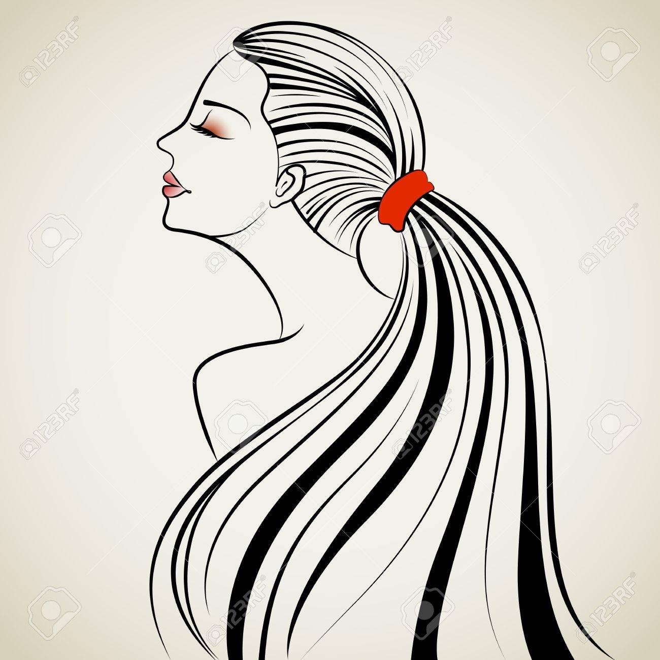 髪型と美しい女性のイラストのイラスト素材ベクタ Image 14732220