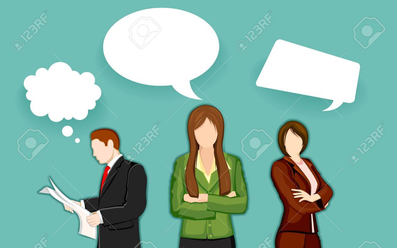 illustration of business people with chat bubble Stock Vector - 14732256