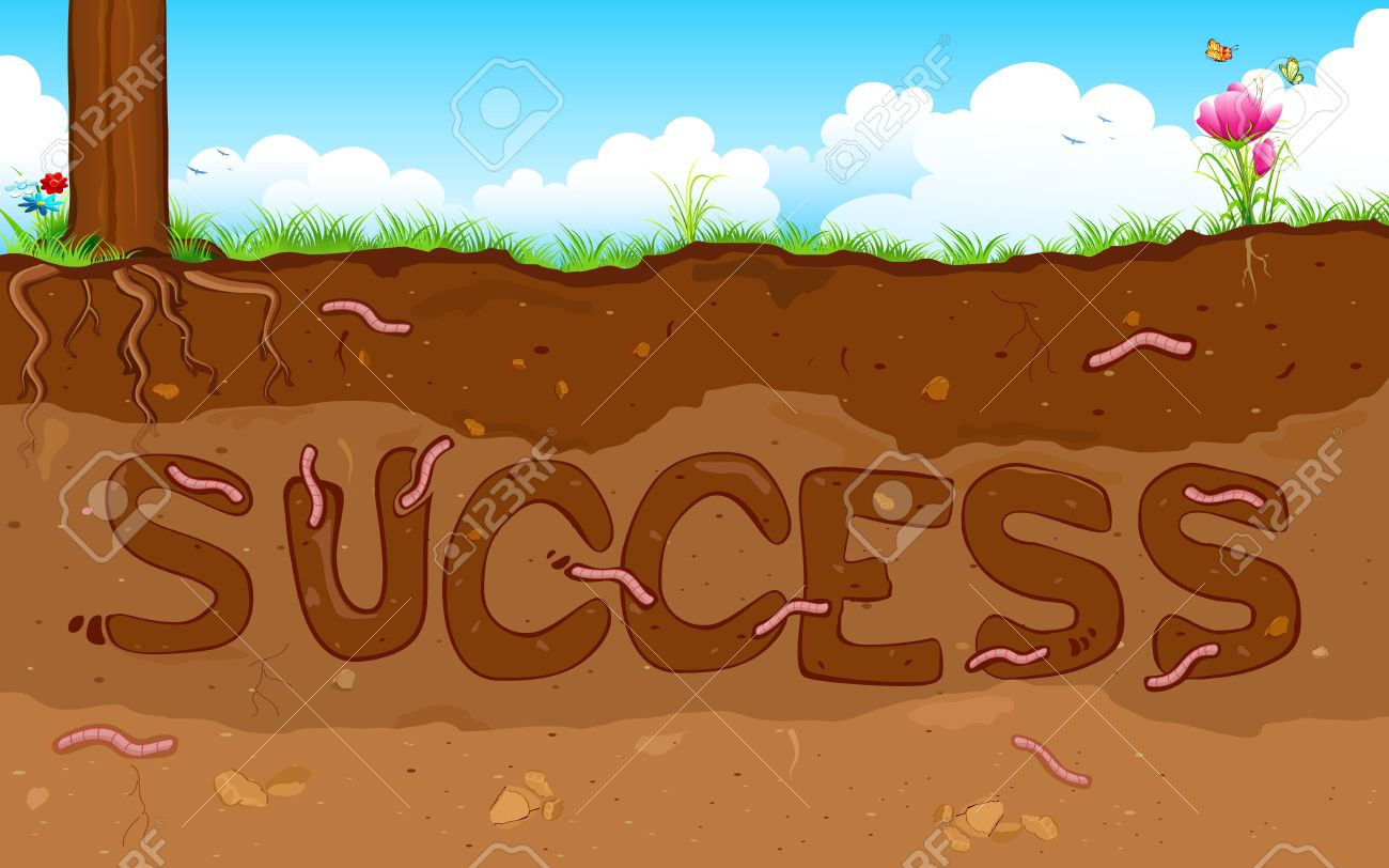 illustration of success word formed under layer of soil Stock Vector - 15195960