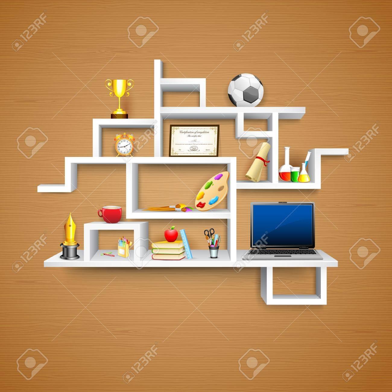 illustration of education object on display shelf Stock Vector - 15196003