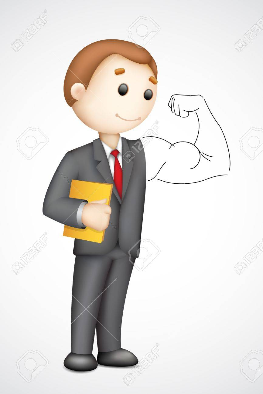 illustration of 3d business man in  showing biceps Stock Vector - 15196051