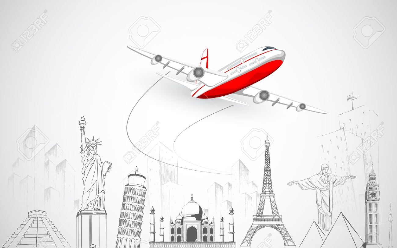 illustration of airplane flying over sketch of famous monument Stock Vector - 15196071