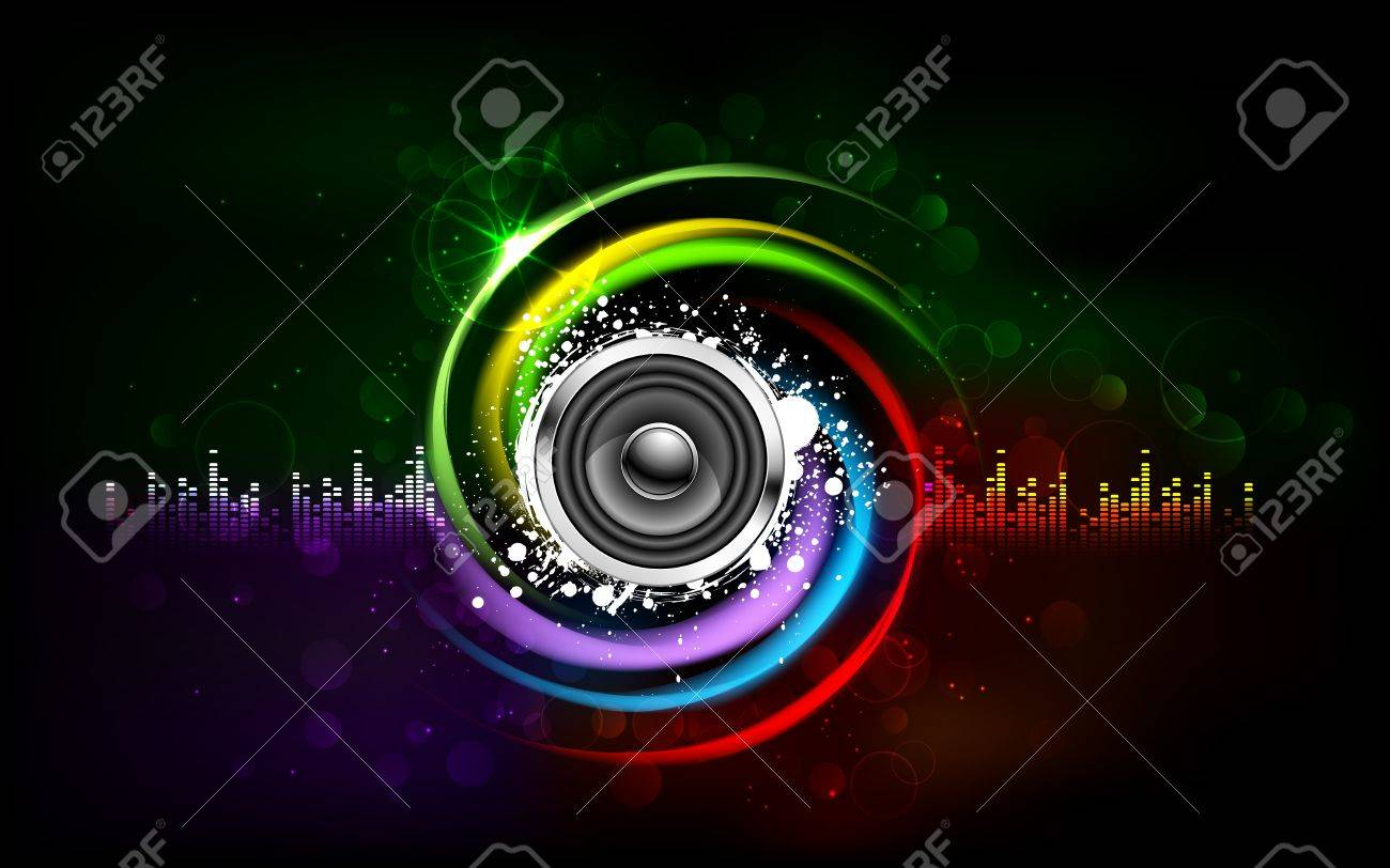 illustration of loud speakers on abstract musical background Stock Photo - 15056290