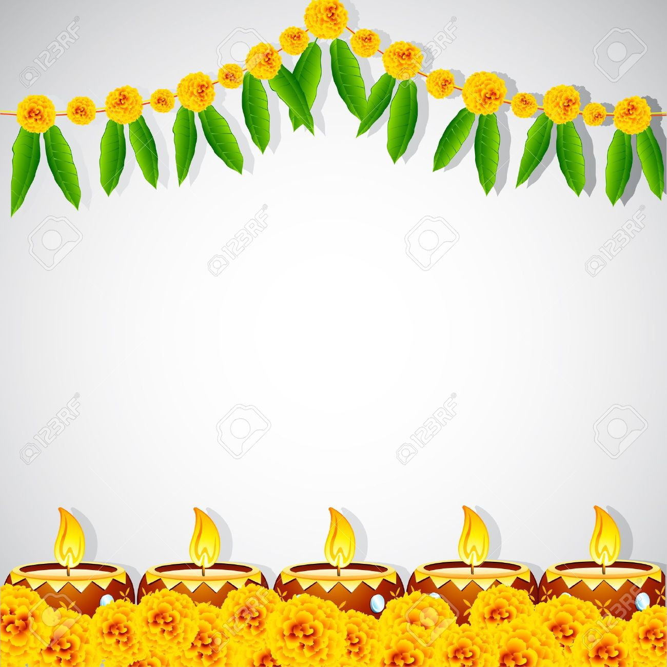 Indian Festival Decoration Illustration Of Burning Decorated Diya On Colorful Rangoli Royalty