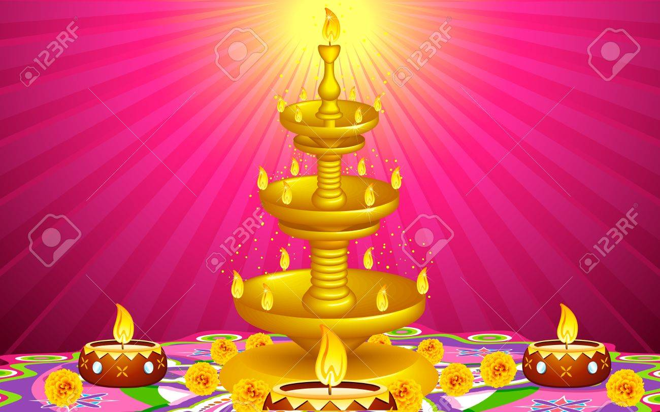 illustration of golden diya stand with flower decoration Stock Vector - 15321532