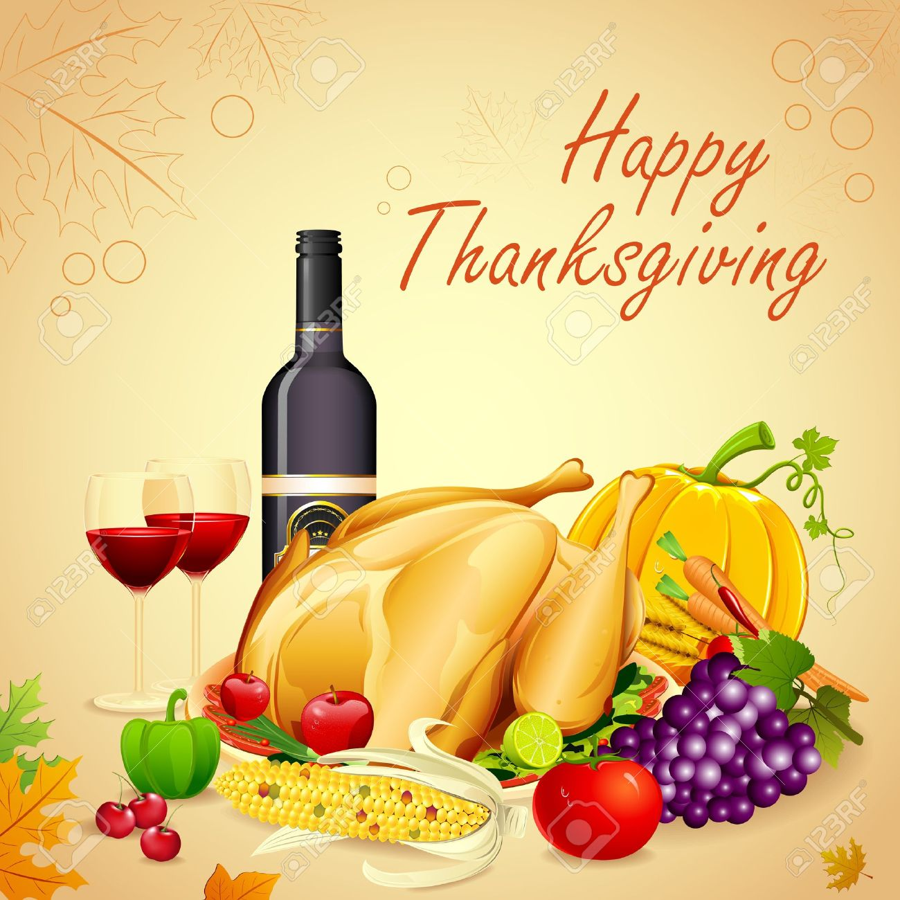 illustration of turkey, fruits and wine in Thanksgiving dinner Stock Vector - 15469069