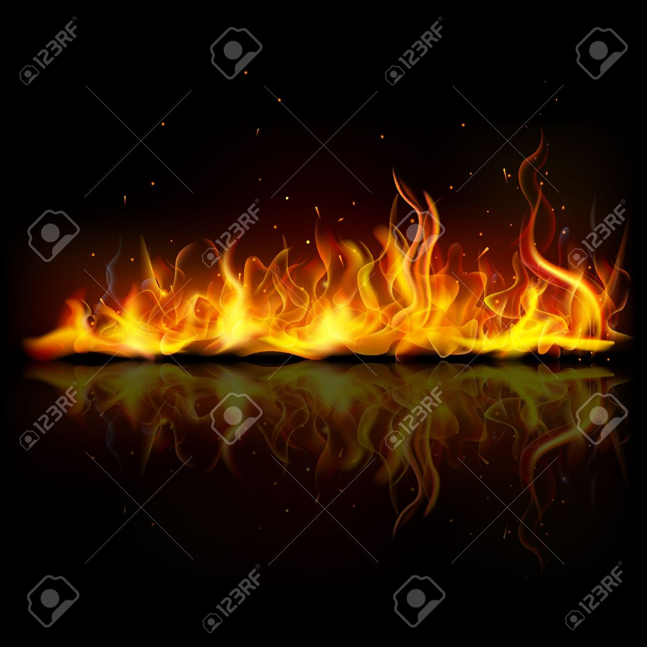 illustration of burning fire flame on black background Stock Illustration - 15469055