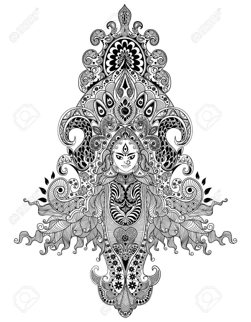 illustration of colorful Goddess Durga against abstract background Stock Vector - 15469063