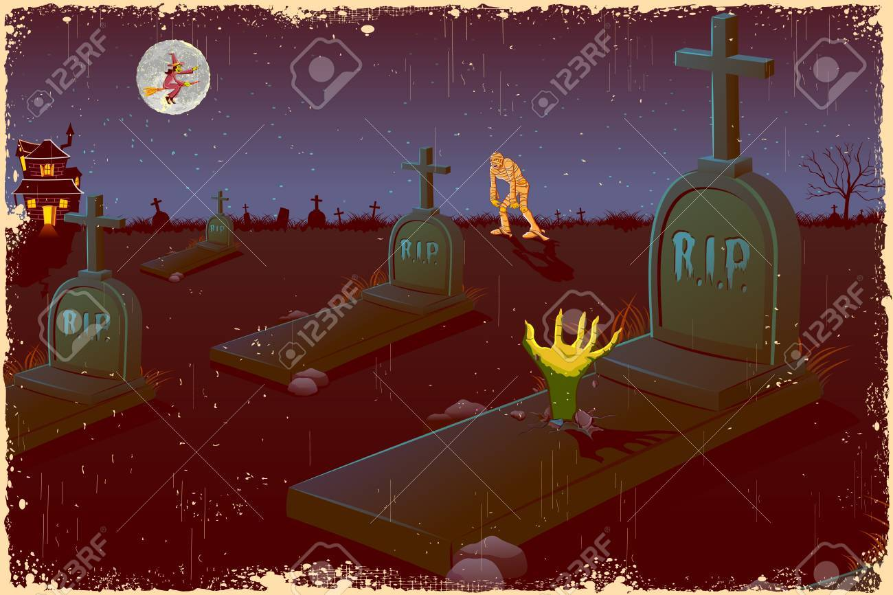 illustration of Halloween night in graveyard with mummy and flying witch Stock Vector - 15632182