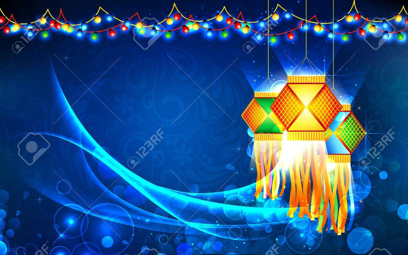 illustration of hanging lantern with firework in diwali night Stock Vector - 15632214