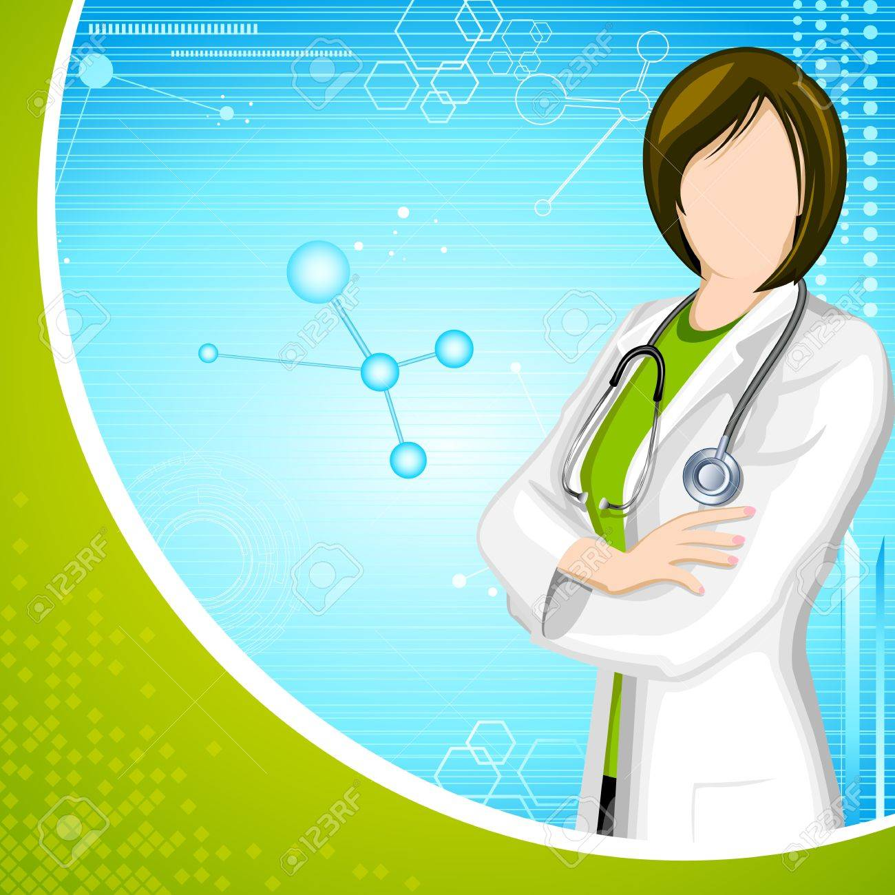 illustration of lady doctor with stethoscope on medical background - 15632192