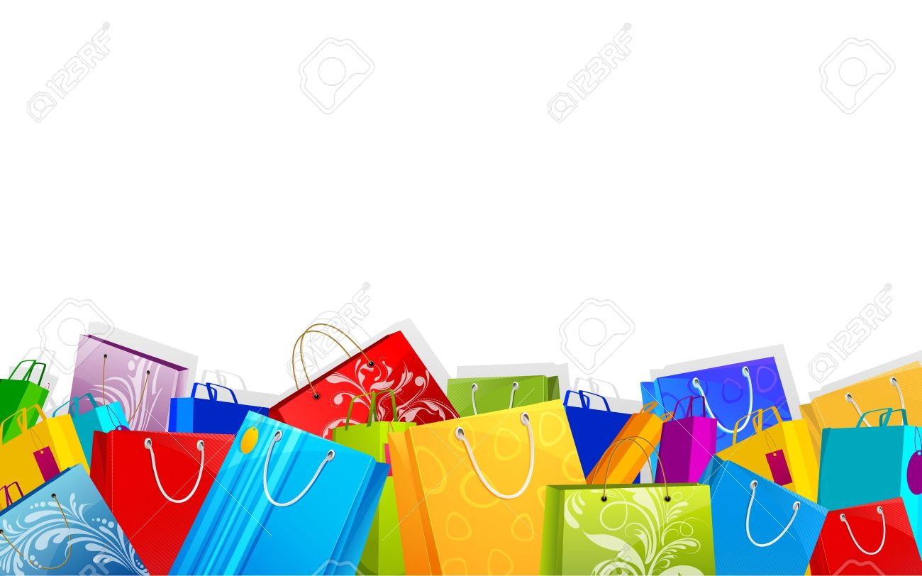 illustration of different shopping bag on sale background royalty