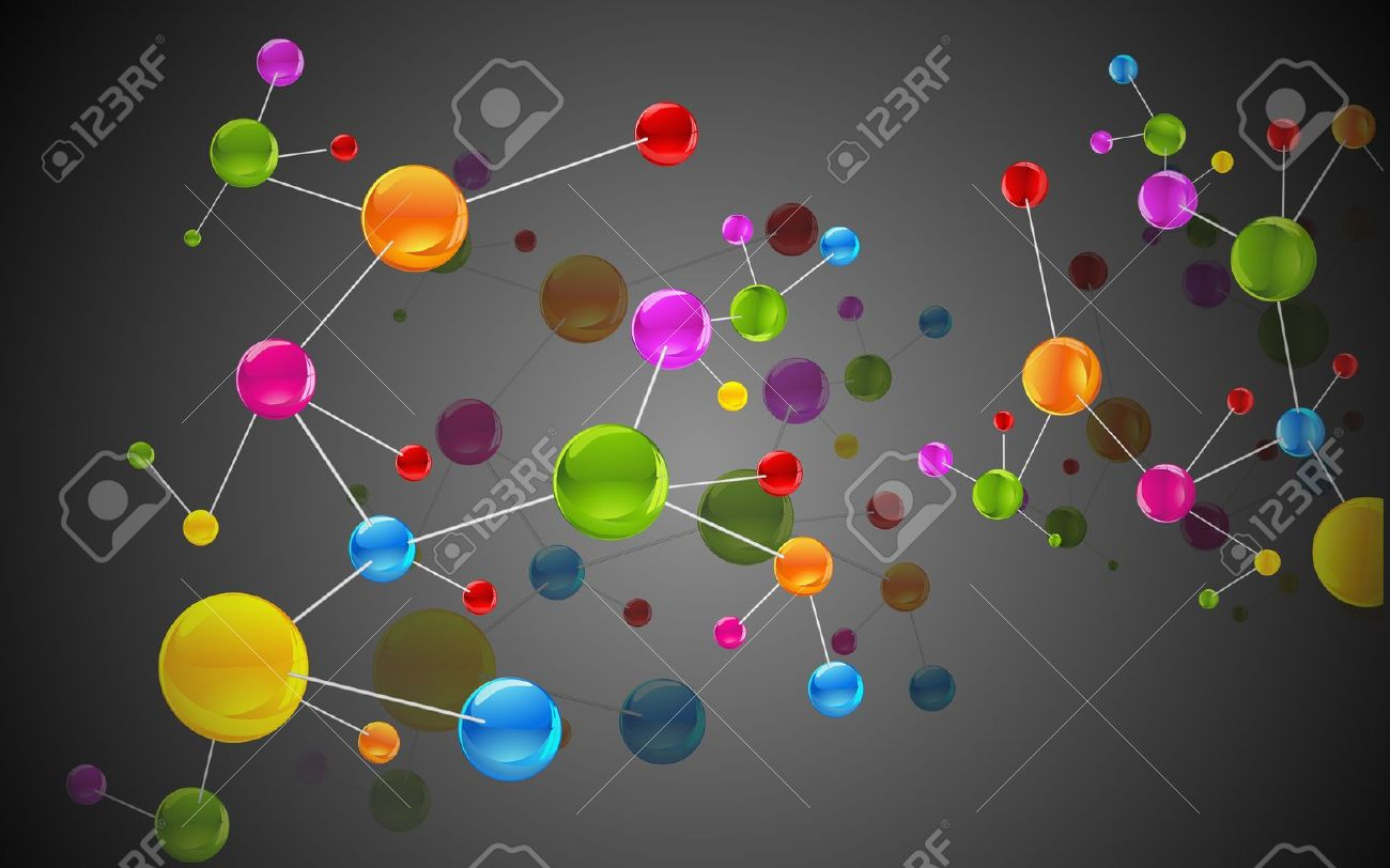 illustration of colorful molecule structure on abstract background Stock Vector - 15803356