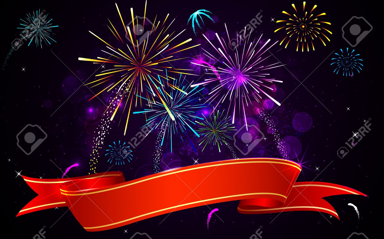 diwali banner background  Illustration Of Colorful Firework Banner On Abstract Background ...