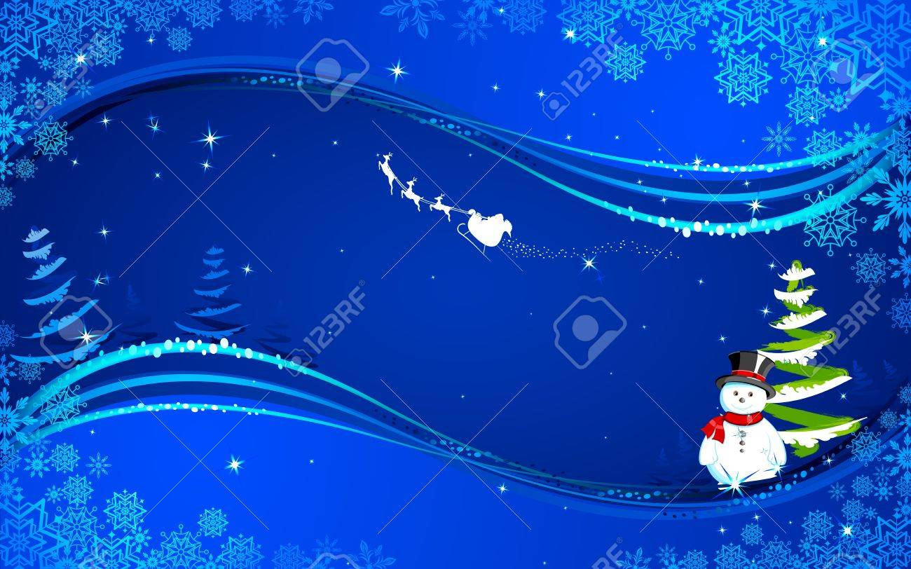 illustration of snowman in christmas night with santa flying in sledge Stock Vector - 15901209
