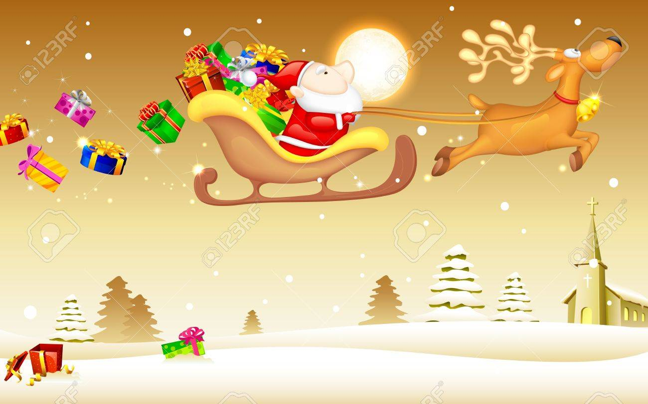 illustration of Santa Claus riding in sledge with Christmas gift Stock Vector - 16022795