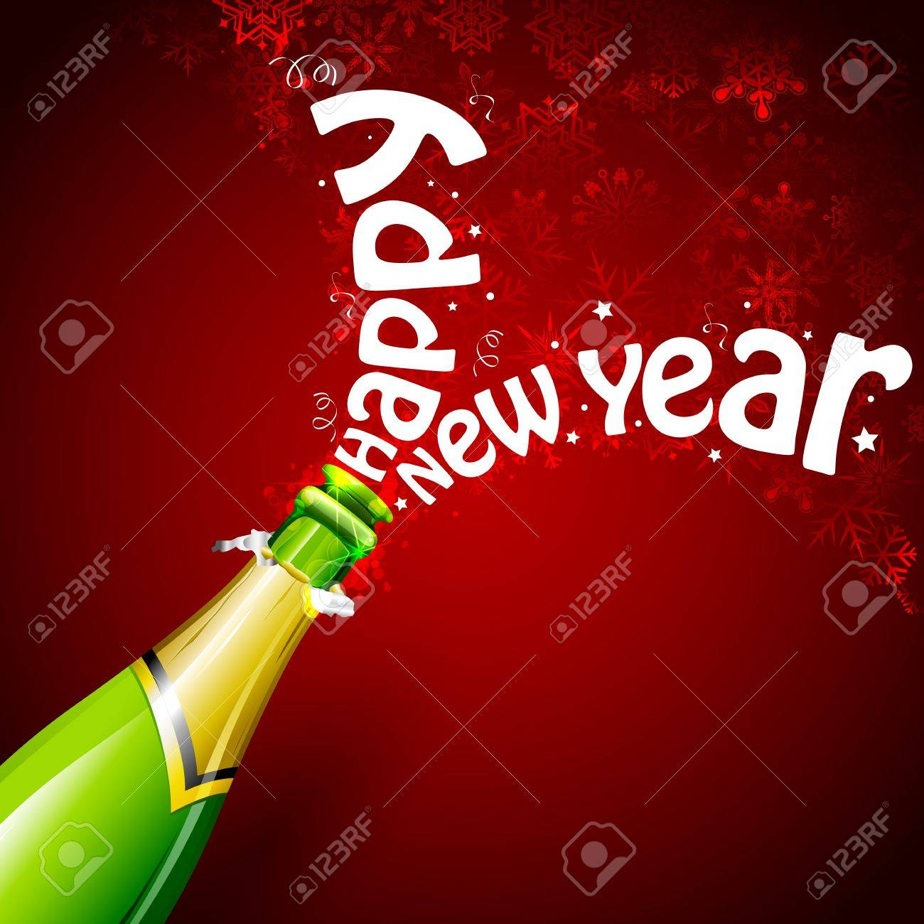illustration of explosion of champagne bottle cork for Happy New Year celebration Stock Vector - 16125078