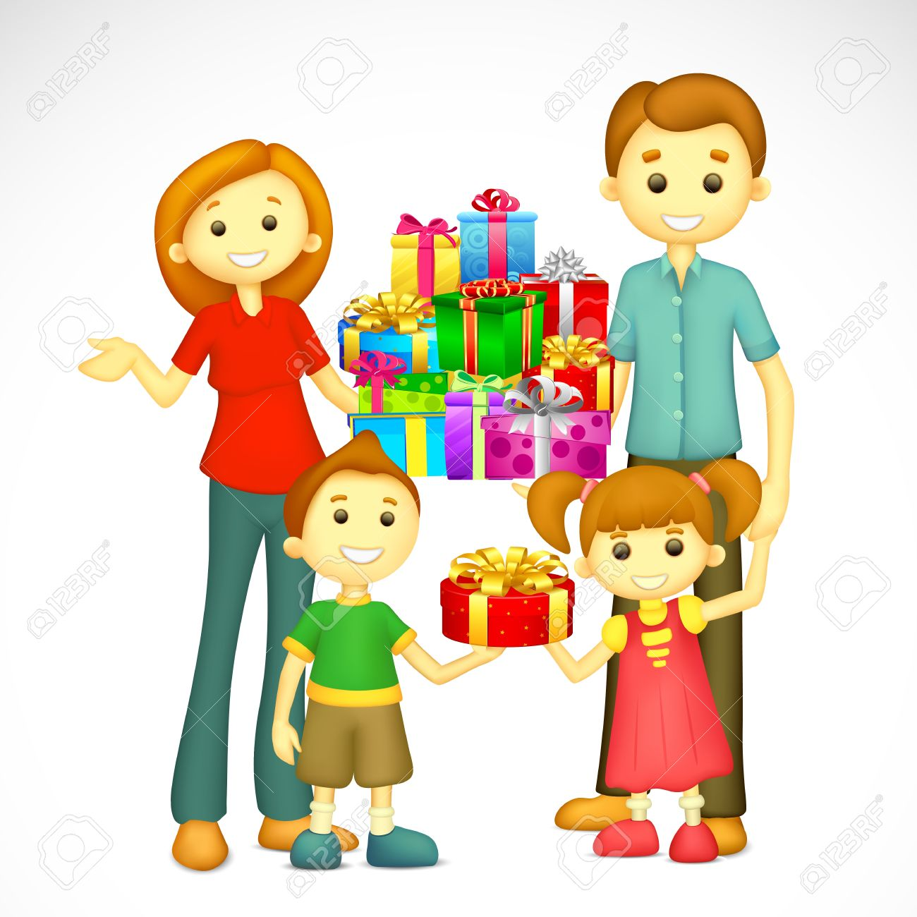 illustration of 3d happy family  with holiday gift Stock Vector - 16125071