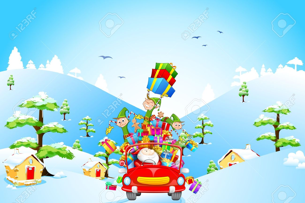 illustration of Elf throwing Christmas gifts from car with Santa Claus - 16125100