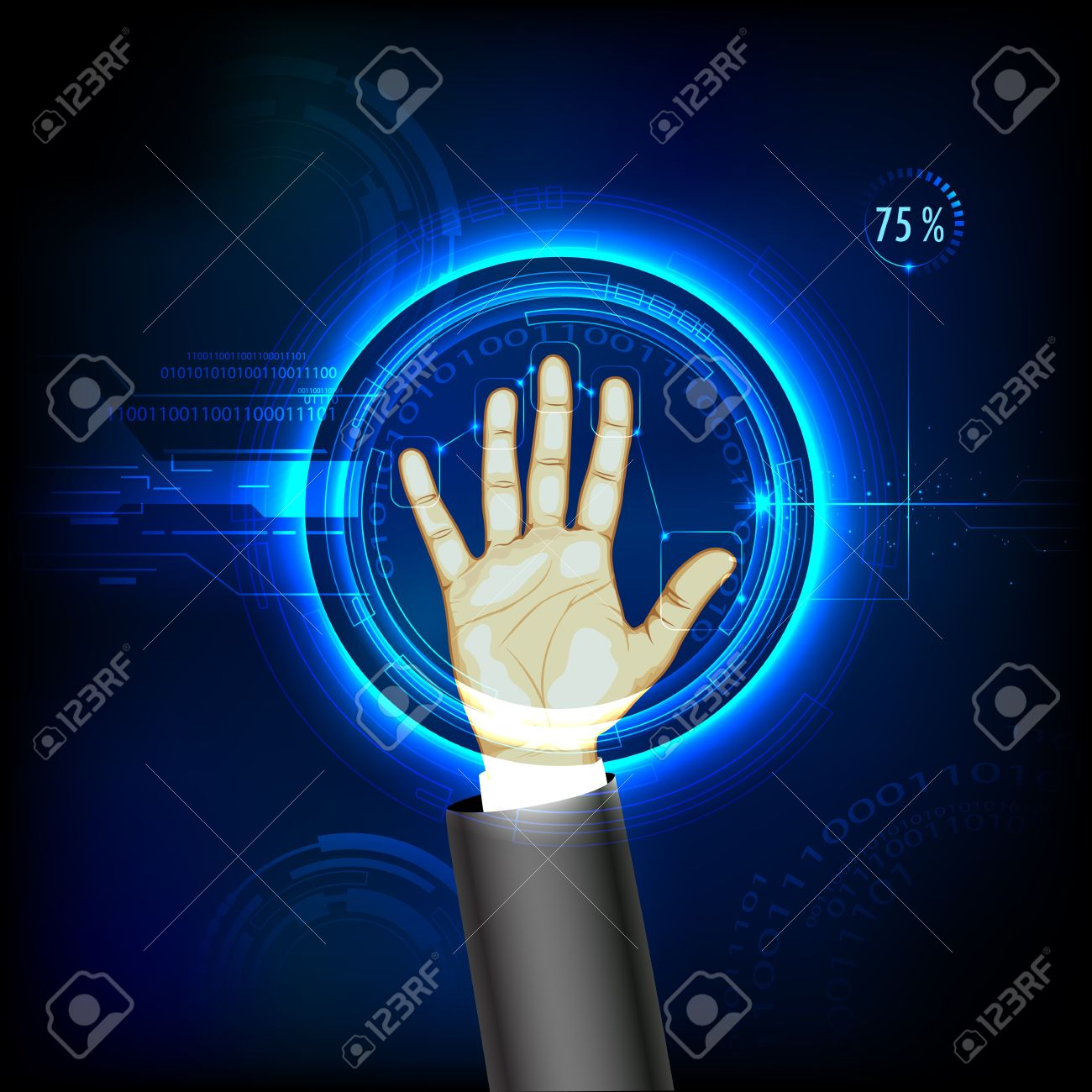 illustration of finger print testing with hand scanning Stock Vector - 16601448