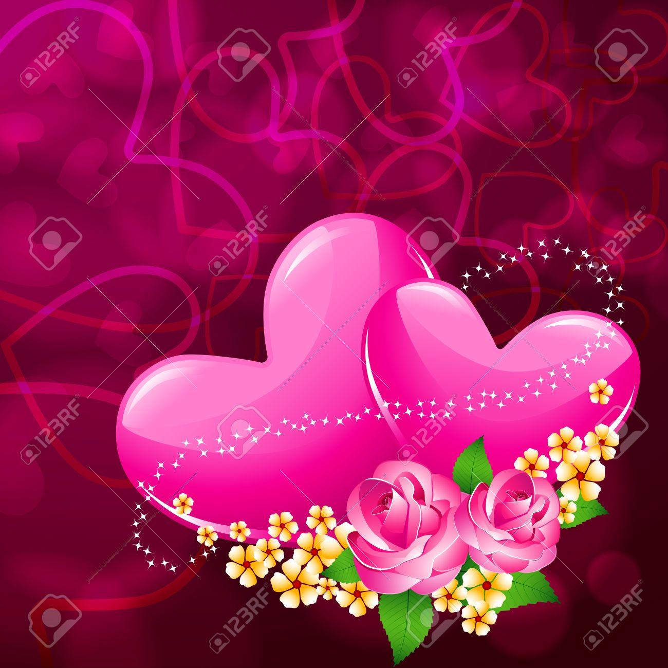 Illustration Of Pair Of Heart With Flower On Love Valentine Card