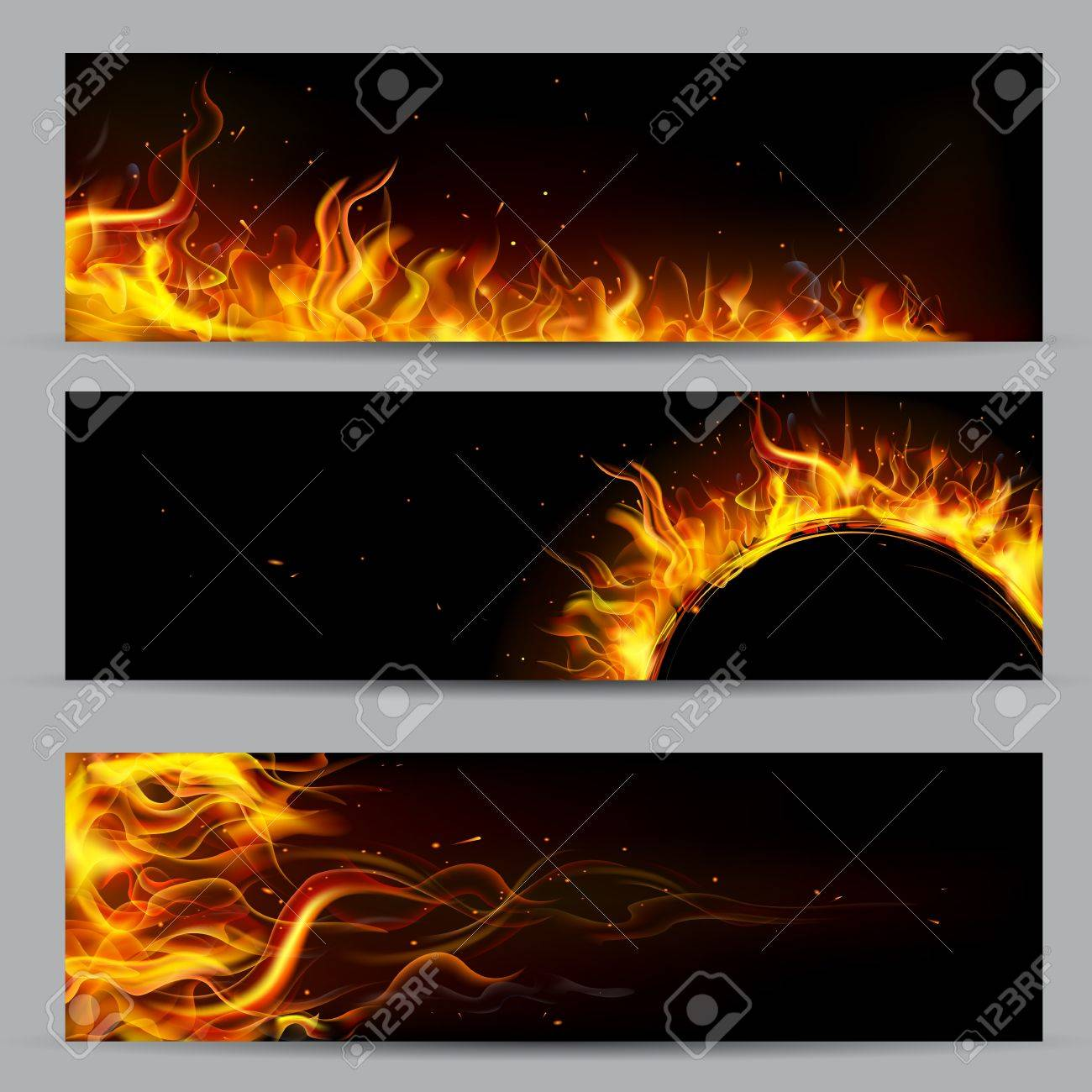 illustration of set of fire flame banner Stock Vector - 17062276