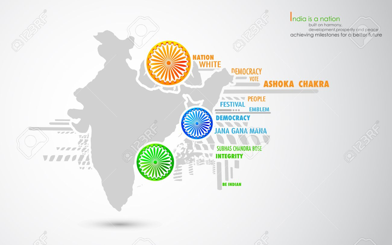 illustration of Ashok Chakra in tricolor with Indian map Stock Vector - 17062317