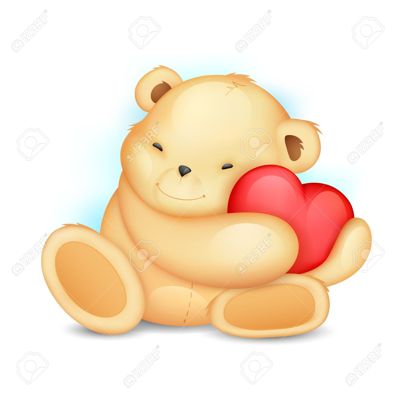 illustration of cute teddy bear holding heart Stock Vector - 17376417
