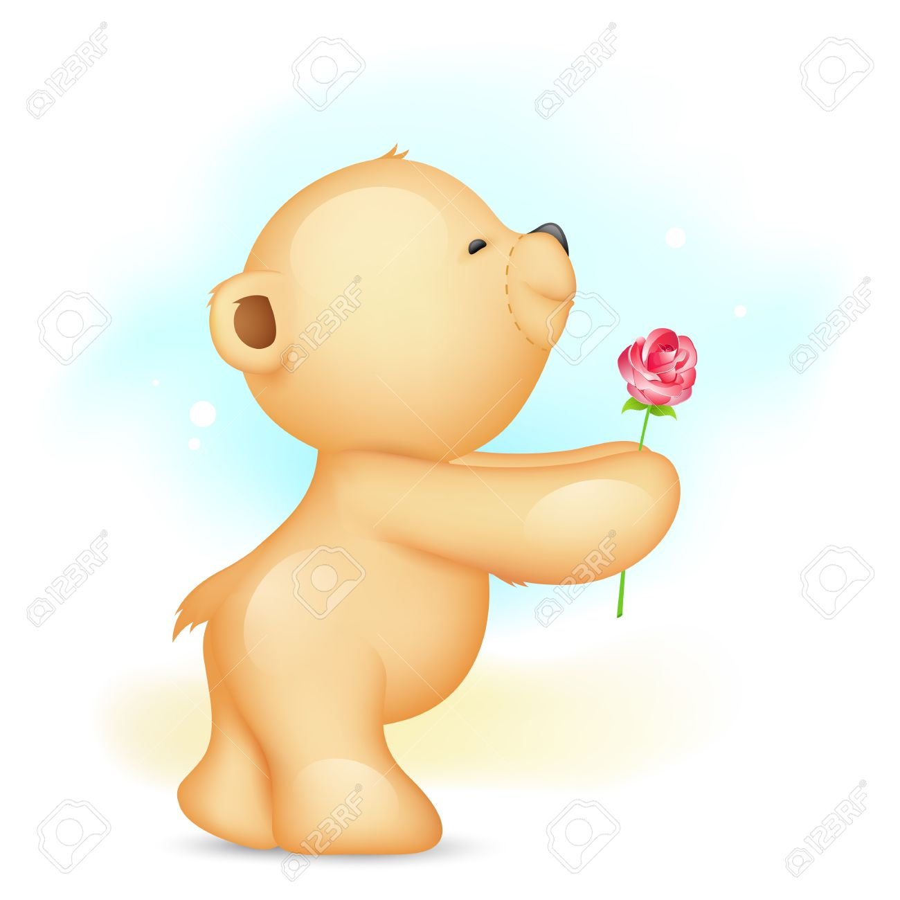 illustration of teddy bear holding rose in proposing pose Stock Vector - 17376414