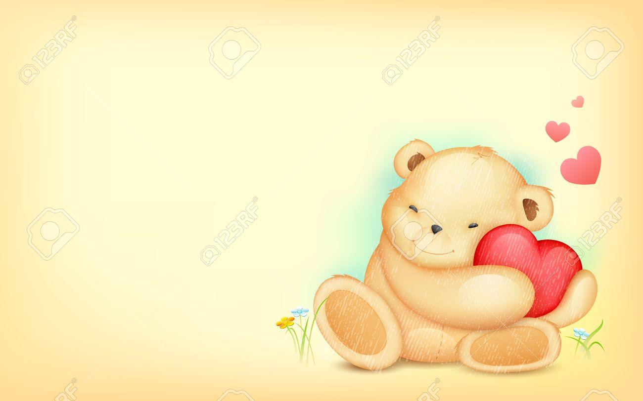 illustration of cute teddy bear hugging heart on love background