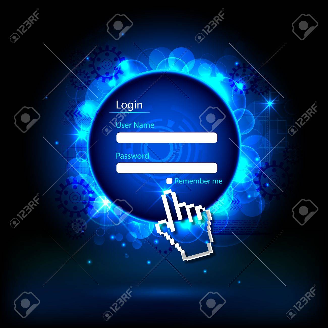 illustration of login page with hand cursor on technology background Stock Illustration - 17376418