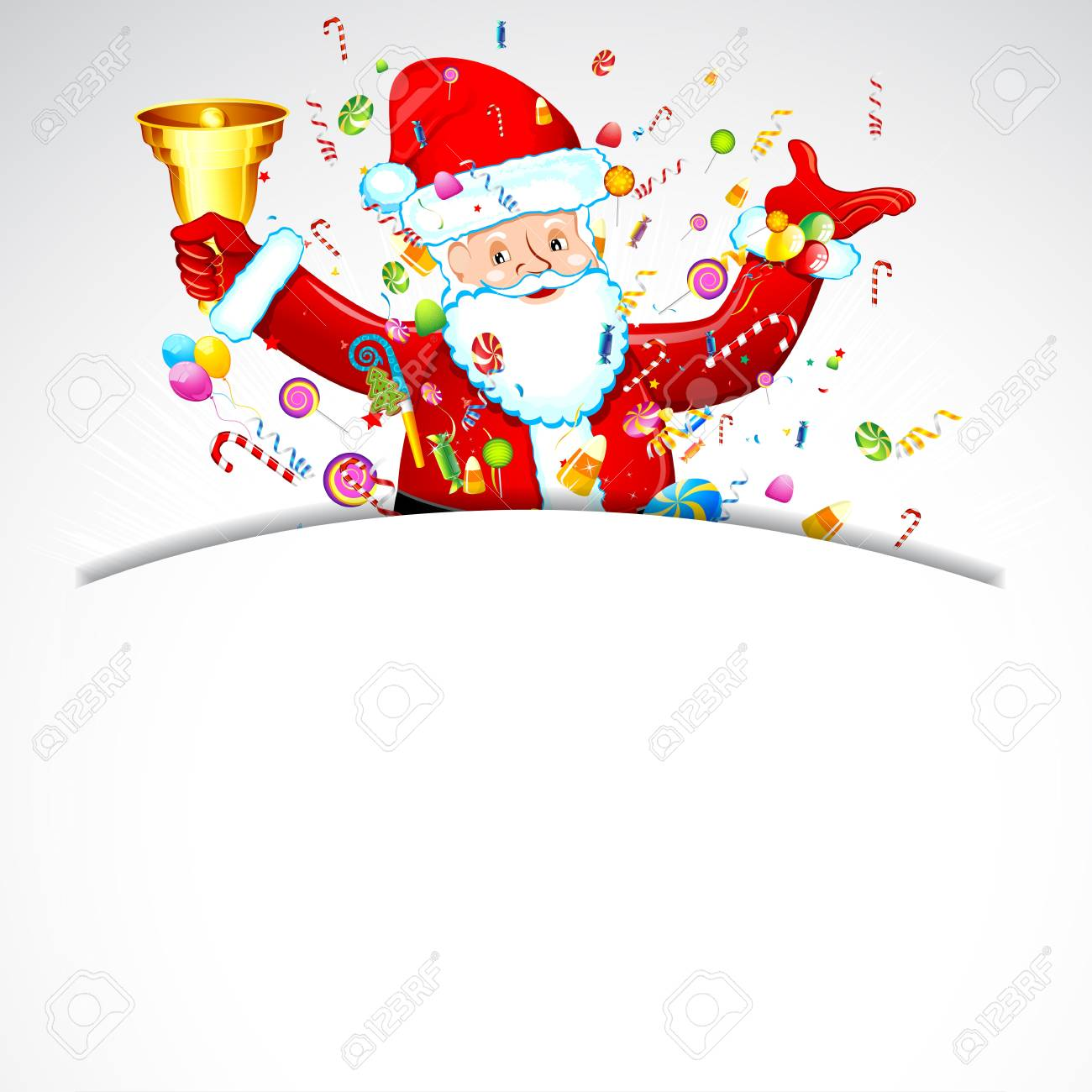 illustration of santa claus with bell and candy Stock Vector - 17441536