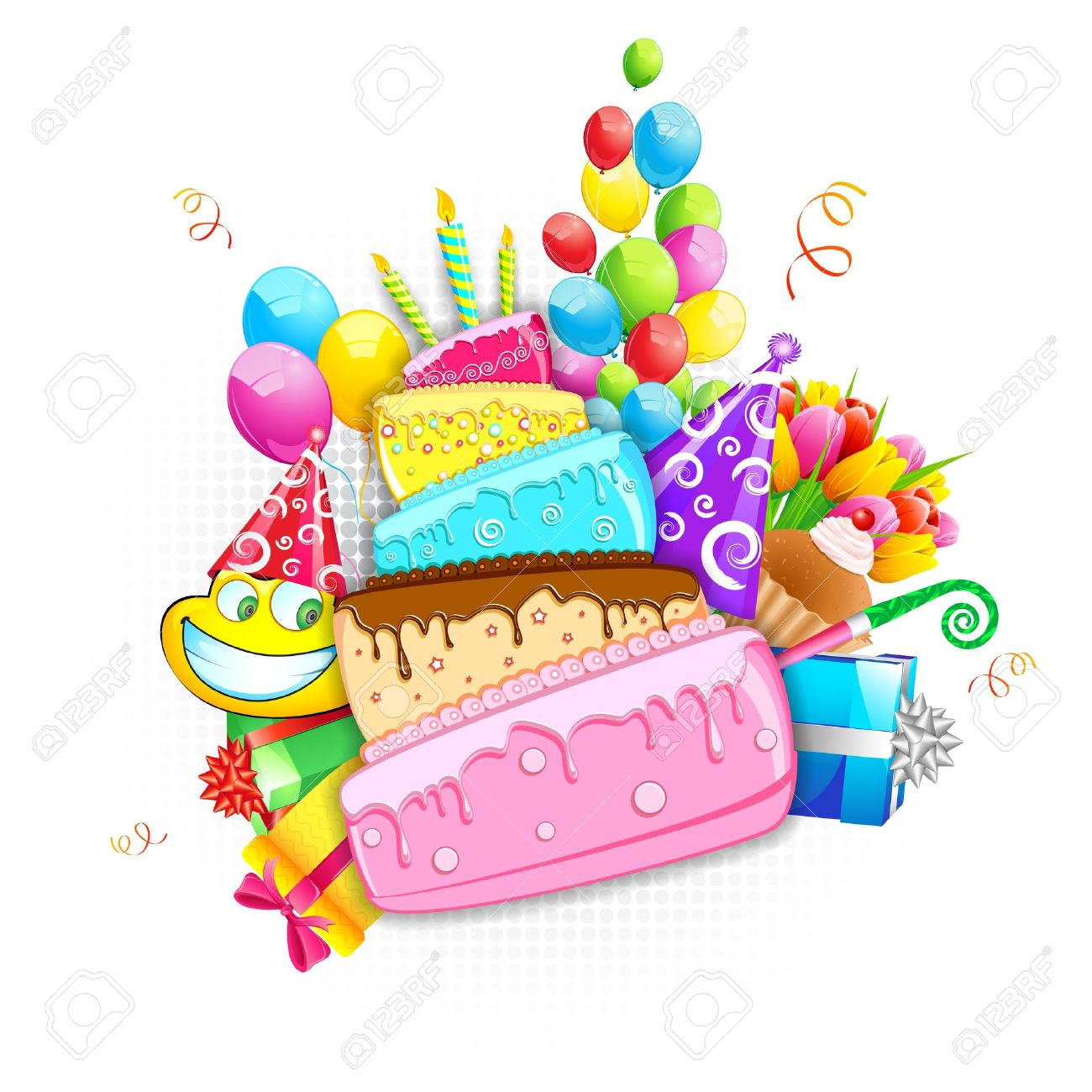 Illustration Of Birthday Card With Cake Balloon And Gift Boxes