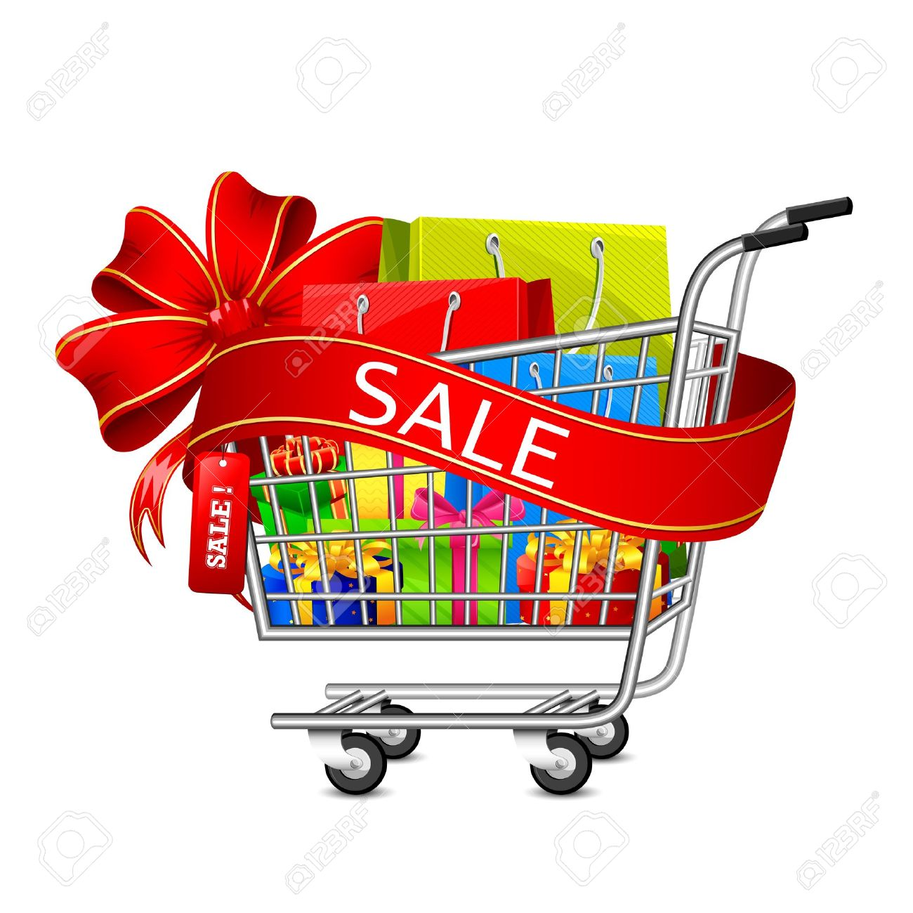 Illustration Of Cart Full Of Shopping Bag And Gift Box With Sale ...