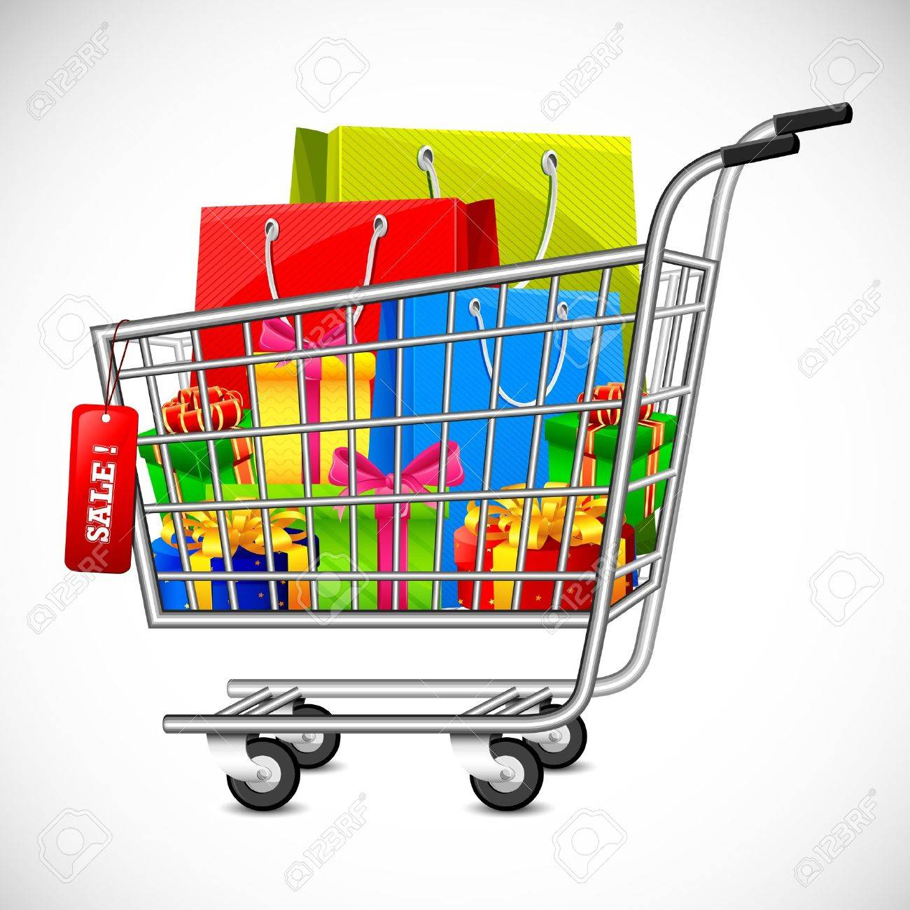 Illustration Of Cart Full Of Shopping Bag And Gift Box Showing ...