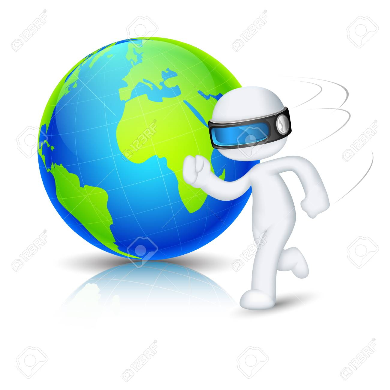 illustration of 3d man in vector fully scalable running around globe Stock Vector - 17694822