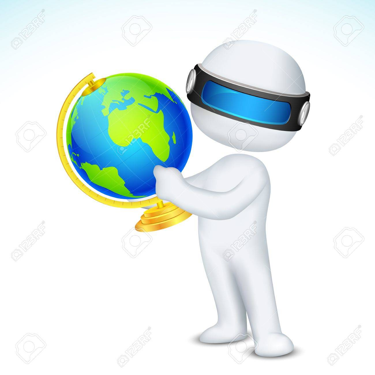 illustration of 3d man in fully scalable showing globe Stock Vector - 17694821
