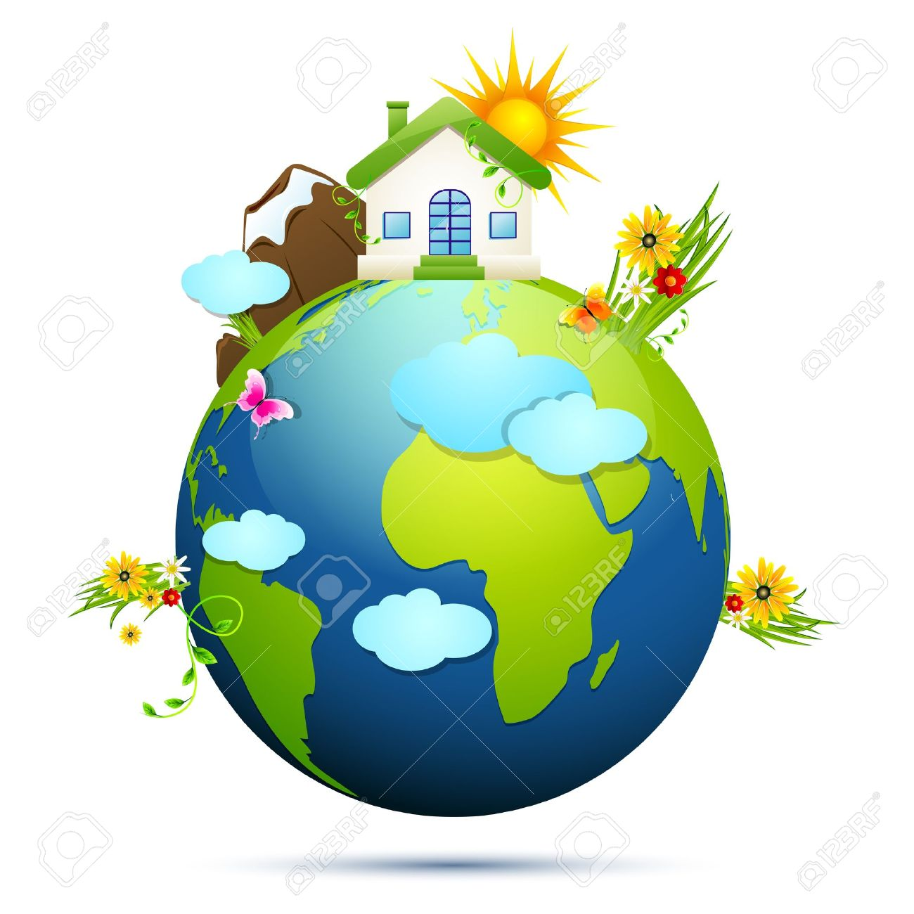 illustration of home and tree around globe showing clean earth Stock Vector - 17945457