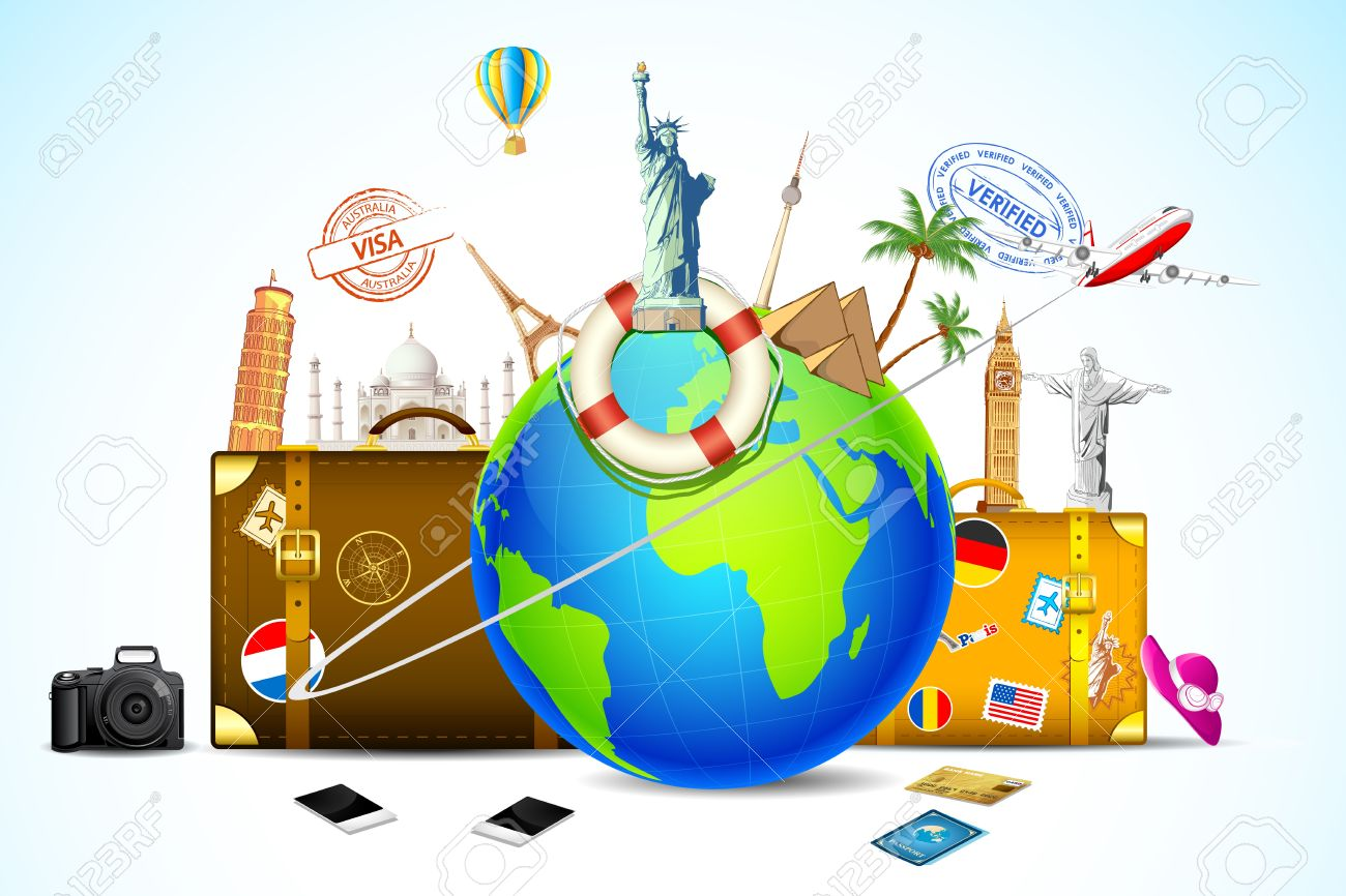 illustration of travel baggage with world famous monument around globe - 17945503
