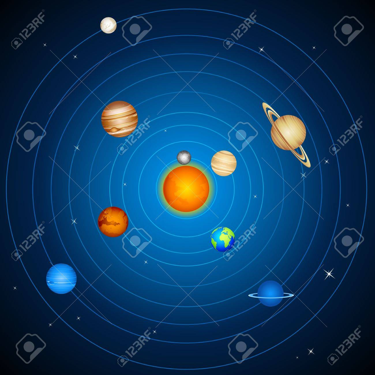 illustration of planets with sun and moon in solar system - 17945469