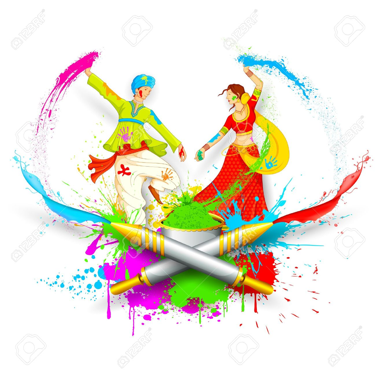 illustration of couple playing Holi with color and pichkari Stock Vector - 18089732